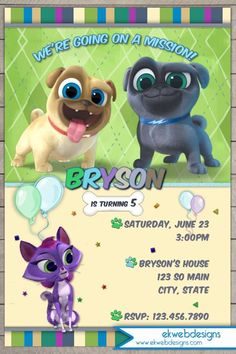 Puppy Dog Pals Birthday invitation - Disney jr.s puppy Dog Pals Invitation
