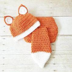Crochet Fox Beanie Hat Diaper Cover Set Infant Newborn Baby Handmade Photography Photo Prop Baby Shower Gift Present