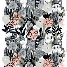 Kasvu fabric - white-grey-peach - Marimekko
