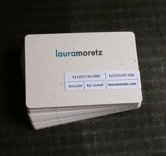 Letterpress business cards. Love the addition of a wrap label with the details.