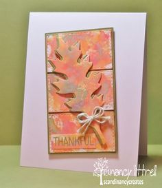 handmade Thanksgiving card for the CAS Watercolour Card Challenge ... luv the soft oranges and kraft color combo ... layered die cut leaf with shadow effect on a split panel ...