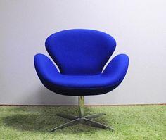 Arne Jacobsen スワンチェア アルネヤコブセン作 職人による手縫い手作り blue 北欧 インテリア 雑貨 家具 Modern ¥38000yen 〆05月17日