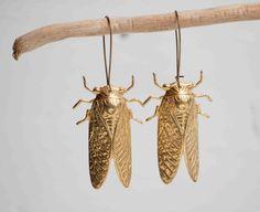 Big GOLD Beetle EARRINGS Nature Study Victorian Cicada Summer Entomologist