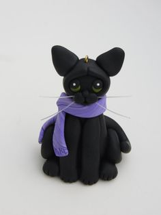 Black Cat Christmas Ornament Figurine Polymer by HeartOfClayGirl, Cat Christmas Ornaments, Christmas Cats, Polymer Clay Sculptures, Purple Scarves, Cat Crafts, Cat Lovers, Peeps, Objects, Husband