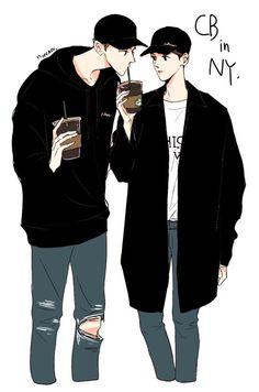 [#FANART] [25.04.17] [#CHANBAEK]    Fanart inspirada no passeio de ChanBaek pelas ruas de Nova Iorque, Estados Unidos. Tomando seus cafés do Starbucks. ❣    [~Moonanie] [Cr.: zenga_cb] Chanbaek Fanart, Baekhyun Fanart, Exo Chanbaek, Anime Art Girl, Anime Guys, Chanyeol, Exo Fan Art, Cute Couple Art, Cute Gay Couples