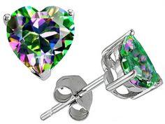 Tommaso Design Heart Shape 7mm Mystic Rainbow Topaz Earrings Studs