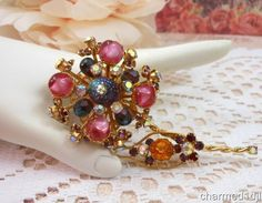 Vtg Huge Rhinestone Art Glass AB Crystal Flower Brooch Pin Gold-Tone MultiColor  #Unbranded