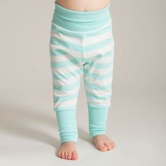 Baby trousers in soft mint-vanilla stripes, made of organic cotton