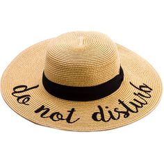 Do Not Disturb Straw Floppy Sun Hat ($20) ❤ liked on Polyvore featuring accessories, hats, straw sun hat, floppy sunhat, summer sun hats, summer straw hats and straw hat