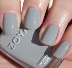 Zoya Dove:  Soft, delicate light neutral gray with an opaque, glossy creme finish.
