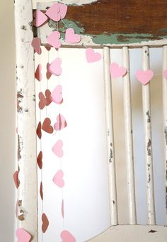 Blushing Hearts pale pink paper garland - 3 metre ft) Wedding, Engagement, housewarming, party home decor, photo prop Barbie Party, Doll Party, Birthday Party Celebration, Birthday Party Decorations, 4th Birthday, Diy Garland, Garlands, Alice In Wonderland Birthday, Mad Hatter Tea