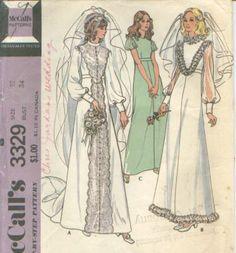Vintage 70's  WEDDING GOWN