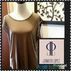 Olive green top with BLING. Beautiful short sleeve top with huge rhinestone gems on the sleeves. So cute! Jennifer Lopez Tops Tees - Short Sleeve