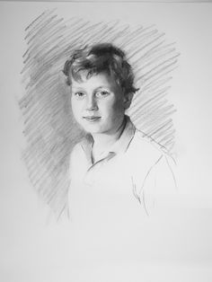 Charcoal portrait drawing of a boy commissioned by his parents.  Artist:  Charlotte Partridge
