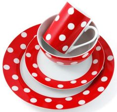 Vintage 50s Style 16 Piece Red Polka Dot Porcelain Dinner Set