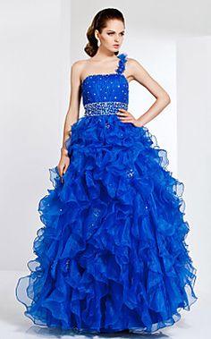 A-line Strapless Floor-length Organza Evening/Prom Dress – USD $ 399.99