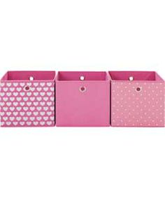 Modular Hearts and Spots Set of 3 Storage Cubes - Pink.