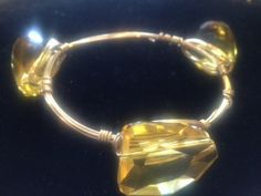 Handmade Yellow Crystal on Gold non-tarnishable wrapped wire, sparkles, bling on Etsy, $20.00