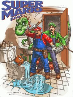 Super Mario Bros. by Dustin Weaver via Comics Alliance