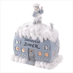 Snow Buddies Light-Up Diner from KoehlerHomeDecor.com.  Everyone will want to eat at the Snowville Diner with it's warm light beckoning from the windows!  Buy wholesale at Koehler Home Décor.