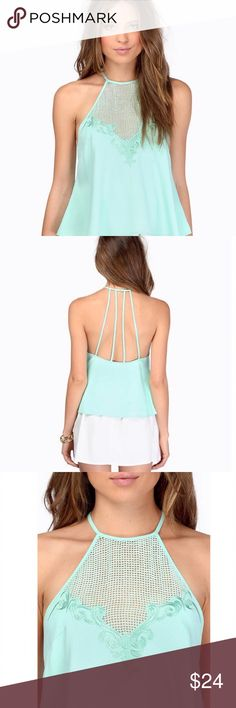 Tobi Halter Top Modern Romance Halter Top in Mint Green.  Gorgeous front and back detailing with slight flair at bottom.  100% Polyester. Tobi Tops Tank Tops