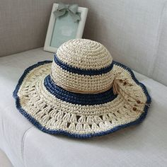 Ladies wide brim sun hat with bow handmade crochet straw hat for summer
