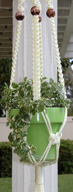 Handmade Macrame Plant Hanger Holder with Beads by ChironCreations