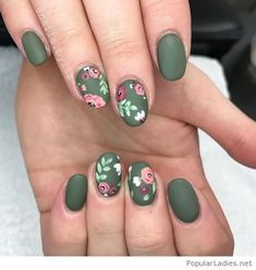 Matte olive nails with floral print