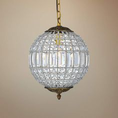Add this vintage-chic style cut crystal round pendant light to a room for an instantly elegant upgrade. 18 high x 12 wide. Style # at Lamps Plus. Round Pendant Light, Crystal Pendant Lighting, Pendant Light Fixtures, Mini Pendant, Crystal Chandeliers, Plug In Chandelier, Vintage Chandelier, Traditional Pendant Lighting, Light Art