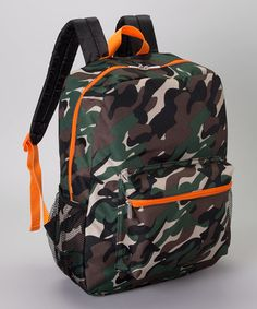 Look what I found on #zulily! Green & Orange Camo Backpack by Global Design #zulilyfinds
