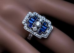 Geometric Design Diamond Sapphire White Gold Ring by RomanovRussiacom on Etsy https://www.etsy.com/listing/461993154/geometric-design-diamond-sapphire-white