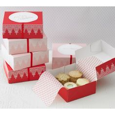 I make Christmas boxes with homemade cookies and candy for friends every year. These are pretty boxes!