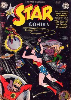 All-Star Comics #45 (Feb-Mar '49) cover by Irwin Hasen & Bob Oksner.