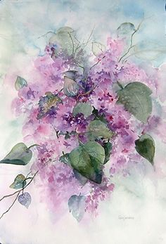 Lovely Lilacs by Lois Sanders Watercolor Watercolor Art Lessons, Watercolor Projects, Abstract Watercolor, Watercolor Flowers, Watercolor Paintings, Watercolors, Lilac Painting, Painting & Drawing, Flower Drawing Images