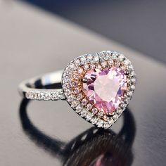 Buy New Pink Heart Ring Anime Jewelry Cosplay Actress Sailor Moon Lunar Rabbit Bunny Engagement Ring Princess Cut Engagement Rings, Perfect Engagement Ring, Engagement Ring Cuts, Daughter Necklace, Pink Ring, Pink Sapphire, Beautiful Rings, Heart Ring, Wedding Rings
