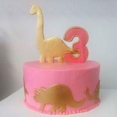Dinosaur Cake Pink Butter cream cake with gold Dinosaur fondant cutouts Dinosaur Birthday Cakes, Dinosaur Cake, Birthday Cake Girls, Dinosaur Party, 3rd Birthday Parties, Baby Birthday, Birthday Ideas, Cupcakes, Cupcake Cakes