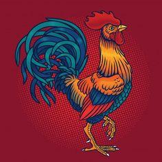 Ilustración vectorial de un gallo vector gratuito Rooster Painting, Rooster Art, Rooster Vector, Hahn Tattoo, Arte Do Galo, Rooster Illustration, Rooster Tattoo, Illustration Design Graphique, Clock Tattoo Design