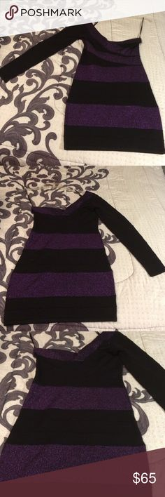 Purple and black one sleeve dress. Glitter Purple and Black short dress. Only worn once. In very good condition. Forever 21 Dresses Mini