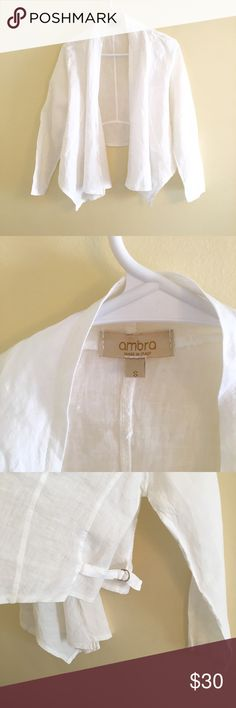 Ambra White Italian Linen Outerwear Cover Up Ambra gorgeous Italian made, 100% white linen cover up/shawl/outwear. Perfect condition with waist cinch details. Ambra Jackets & Coats