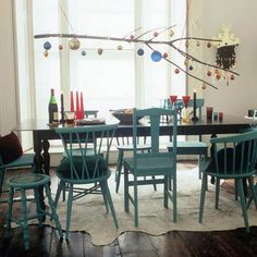 Hi ya, Here is another design inspiration folder I'm sharing: mismatched dining room chairs. I hate my kitchen chairs. Kitchen Chairs, Dining Room Chairs, Table And Chairs, Blue Chairs, Wood Table, Chairs For Dining Table, Kitchen Dining, Tree Table, Entry Tables