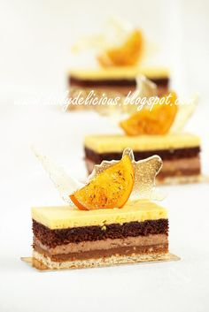 dailydelicious: Valencia: Orange, Chocolate and Nut Entremets, wonderful recipe from chef Sadaharu Aoki - Easy Ethnic Recipes Layered Desserts, Individual Desserts, Small Desserts, Fancy Desserts, Just Desserts, Delicious Desserts, Pastry Recipes, Cake Recipes, Dessert Recipes