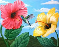 Hummingbird with Pink and Yellow Hibiscus Original Acrylic Painting Rita Image, Hummingbird Drawing, Blue Bird Art, Yellow Hibiscus, Simple Acrylic Paintings, Good Morning Flowers, Found Art, Surf Art, Watercolor Design