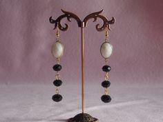 Gemstone and crystal drop earrings-Earrings by FestivitiesFactory