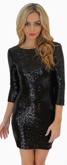 Sequin 1/2 Sleeves Skinny Pencil Club Short Dress