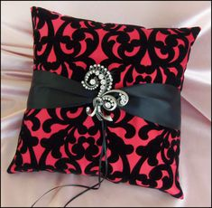 Black and Red Damask Weddings Ring Bearer Pillow