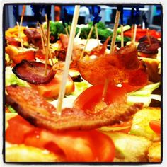 Cook the bacon in the oven (much faster and easy clean up) and then use a tooth pick to hold a of a piece of toast, lettuce and a slice of tomato together with the bacon. Then you've got a BLT Bite! Blt Bites, Georgetown Tx, Bacon In The Oven, Central Texas, Thing 1, Lettuce, Catering, Tooth, Cooking