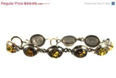 On Sale Vintage 925 Sterling Silver & Amber by HerRoyalShyness17