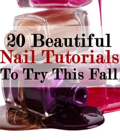 20 DIY Nail Tutorials You Need To Try This Fall- some don't seem very fall inspired but others are great Love Nails, How To Do Nails, Fun Nails, Pretty Nails, Diy Nails Tutorial, Nail Tutorials, Nail Tips, Nail Ideas, Nail Hacks