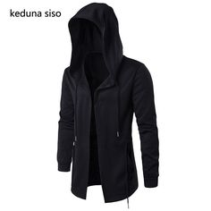 Men Casual Irregular Loose Bat Sleeves Hooded Poncho Cape Coat With WST