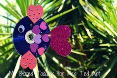 Valentine's Day CD Rainbow Fish Craft for kids